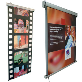 Motorised Rolling banner displays